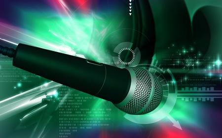 Digital illustration of microphone in colour background  illustration