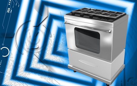 stove top: Digital illustration of  a Burner   in colour background