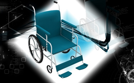 wheel chair: Digital Illustration of  wheel chair  in colour background