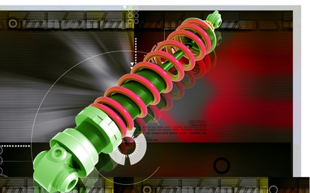 Digital illustration of Shock absorber in colour background Stock Illustration - 10135382