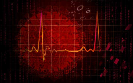 abstract red: Digital illustration of electro cardio graph in colour background