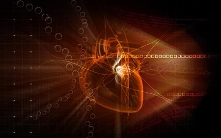 Digital illustration of  heart  in  colour  background Stock Illustration - 10174150