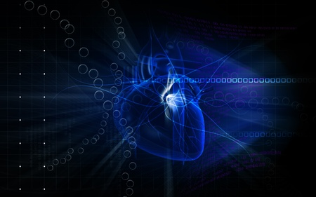 medical technology: Digital illustration of  heart  in  colour  background