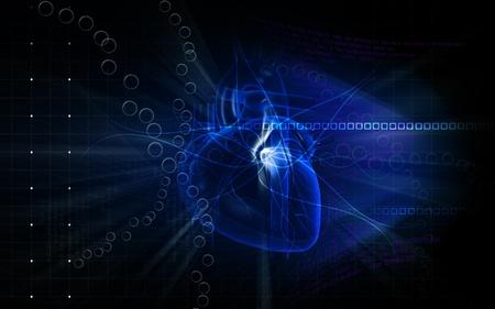Digital illustration of  heart  in  colour  background Stock Illustration - 10174167