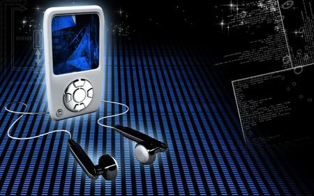 Digital illustration of an I Pod in colour background illustration