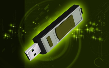 mb: Digital illustration of  a pen drive   in background   Stock Photo