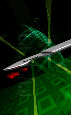 surgical equipment: Digital illustration of  Surgical knife in colour  background   Stock Photo