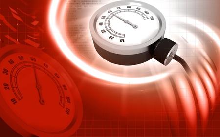 Digital illustration of sphygmomanometer in colour background   illustration