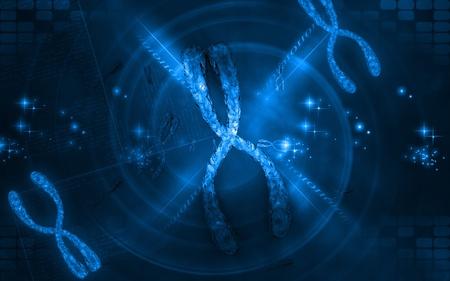 Digital illustration  of chromosome in   colour background   Stock Illustration - 10279899
