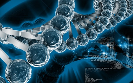 Digital illustration DNA structure  in colour background  Stock Illustration - 10279914