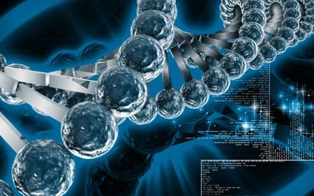 Digital illustration DNA structure  in colour background Stock Illustration - 10279914