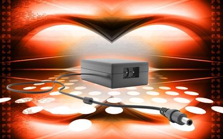 alternating current: Digital illustration of adapter in colour  background