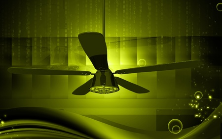 Digital illustration of ceiling fan in colour background Stock Illustration - 10333410