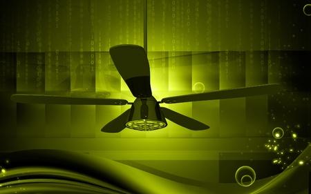 Digital illustration of ceiling fan in colour background Stock Illustration - 10333410