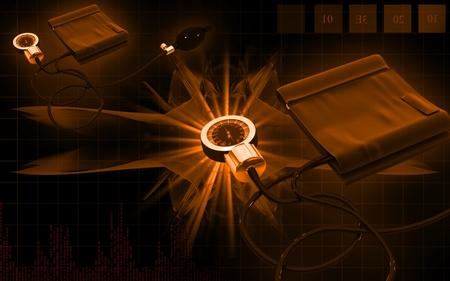 Digital illustration of sphygmomanometer in colour background  Stock Illustration - 10333425