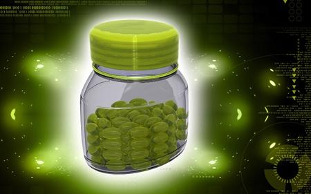 dosage: Digital illustration of capsule bottle in colour background  Stock Photo