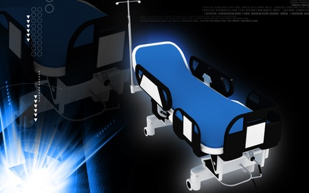 recover: Digital illustration of  Hospital bed in colour  background