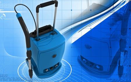 floor machine: Ilustraci�n digital de aspiradora en fondo de color  Foto de archivo