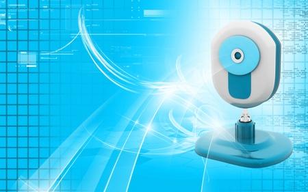 Digital illustration of Web camera colour background Stock Illustration - 10350805