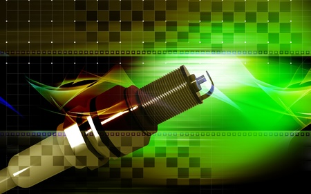 Digital illustration of Spark plug in colour background  Stock Illustration - 10350804