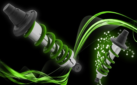 Digital illustration of Shock absorber in colour background Stock Illustration - 10370671