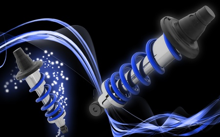 coil spring: Digital illustration of Shock absorber in colour background  Stock Photo