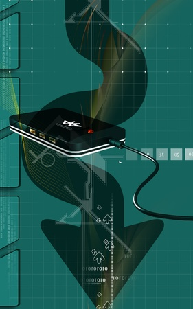 Digital illustration of Bluetooth device  in colour background  illustration