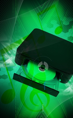 dvd rom: Digital illustration of Blue ray device  in colour background
