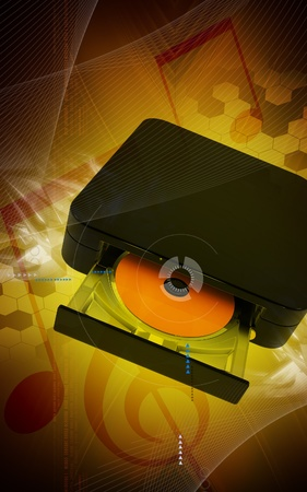 blu ray: Digital illustration of Blue ray device  in colour background