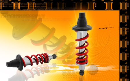 Digital illustration of Shock absorber in colour background Stock Illustration - 10411432