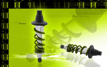 Digital illustration of Shock absorber in colour background Stock Illustration - 10411425
