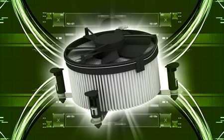 Digital illustration of Processor fan in colour background  illustration