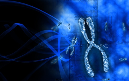 Digital illustration  of chromosome in   colour background