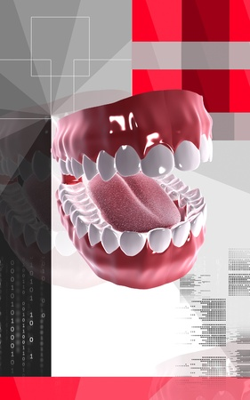 salivary: Digital illustration of  Mouth in colour background