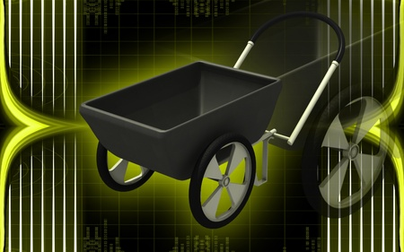 wheel barrow: Digital illustration of  a Wheel barrow in colour background   Stock Photo