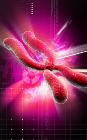 Digital illustration  of chromosome in   colour background   Stock Illustration - 10433761