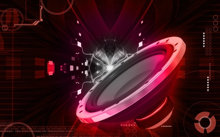 red sound: Digital illustration of car stereo in colour background