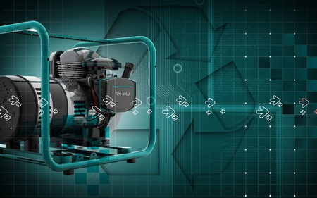 outage: Digital illustration of a generator  in colour background  Stock Photo