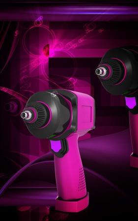 Digital illustration of impact wrench in colour background Stock Illustration - 10457922