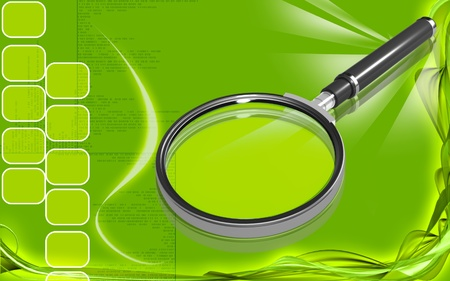 Digital illustration of a magnifying glass in colour background Stock Illustration - 10500485