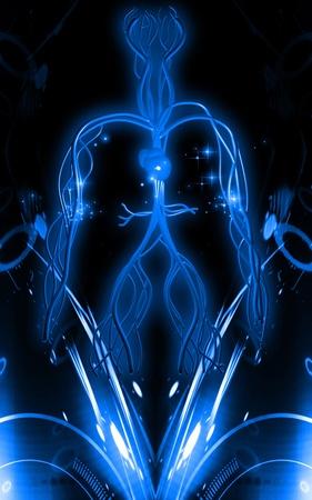 Digital illustration of vascular system in colour background Stock Illustration - 10500488