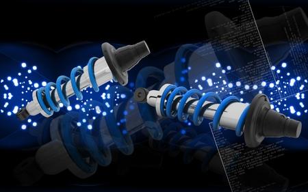 Digital illustration of Shock absorber in colour background Stock Illustration - 10580177