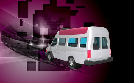 disaster relief: Digital illustration of  ambulance  in  colour  background