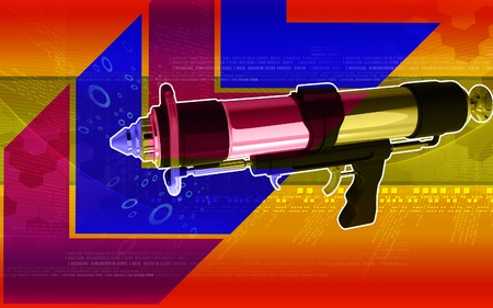 Digital illustration of spray gun in colour background   illustration