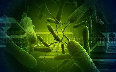 vibrio: Digital  illustration   of cholera bacteria in   colour background    Stock Photo
