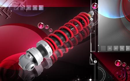 Digital illustration of Shock absorber in colour background Stock Illustration - 11160032