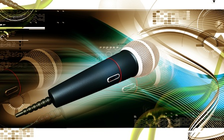 Digital illustration of microphone in colour background  Stock Photo