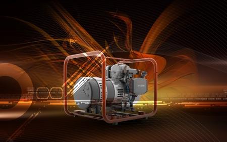 Digital illustration of a generator  in colour background Standard-Bild