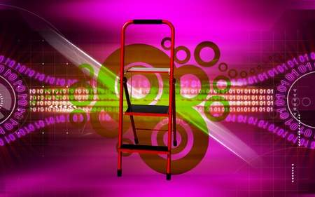 Digital illustration of ladder in colour background Stock Illustration - 11160053