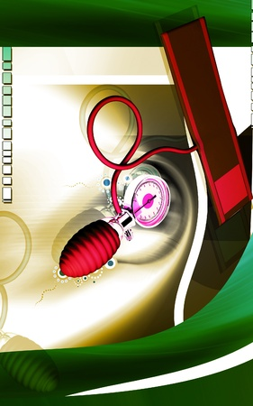 Digital illustration of sphygmomanometer in colour  background  Stock Illustration - 11223495